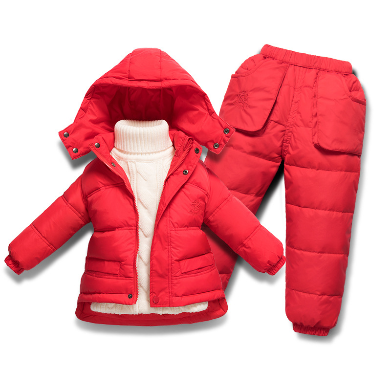 Children Boys Girls Clothing Sets Camo Print Winter Hooded Duck Down Jacket +Trousers Warm Baby Snowsuit kids Clothes TZ211 boys letter print camo hooded jacket