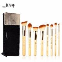 Jessup 8pcs Beauty Bamboo Professional Makeup Brushes Set T139 Cosmetics Bags Women Bag CB001