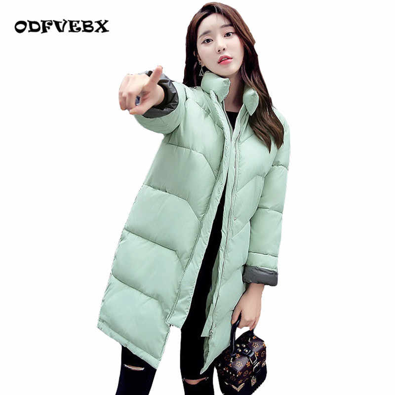 2019 winter new down cotton jacket female medium long loose collar bread clothing Tops student cool jackets women's clothing