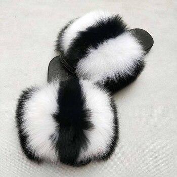 2019 Summer fox fur slides Cute Plush Fox slippers 100% real fox hair luxury fashion beach slippers size 36-45 1