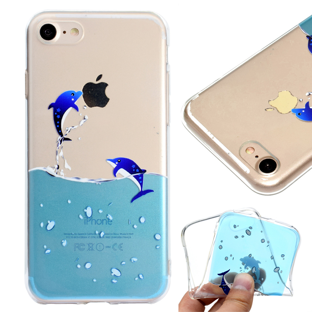 Fashion Back Cute Flamingo dolphin elephant giraffe For iphone 6s plus Case Clear TPU Silicone Capa For iphone 6 7 8 plus Cover