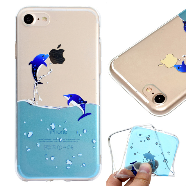 huge discount 341da 86541 US $3.9 |Fashion Back Cute Flamingo dolphin elephant giraffe For iphone 6s  plus Case Clear TPU Silicone Capa For iphone 6 7 8 plus Cover-in Fitted ...