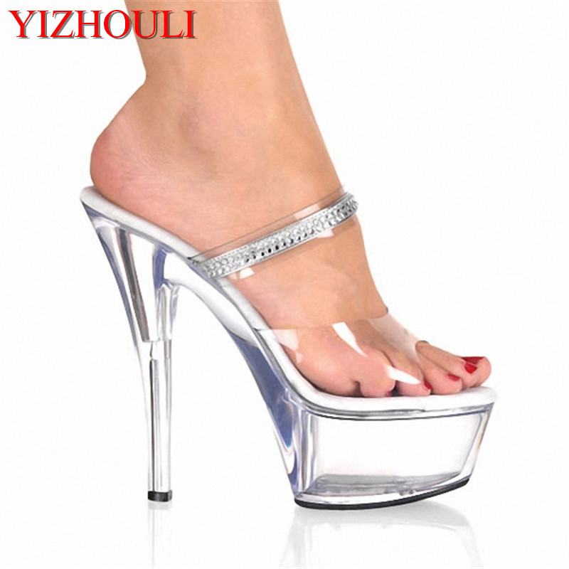 Lady Fashion 6 Inch High Heel Shoes Sexy Party Crystal Slippers Rhinestone Clear Sandals Platform 15cm Ultra High Heels Slippers недорго, оригинальная цена