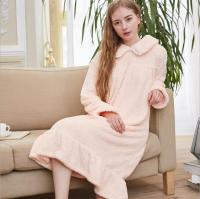 2019 autumn winter new Flannel women warm Nightgowns long sleeve Turn down Collar solid female sleep dress home clothes gx1216