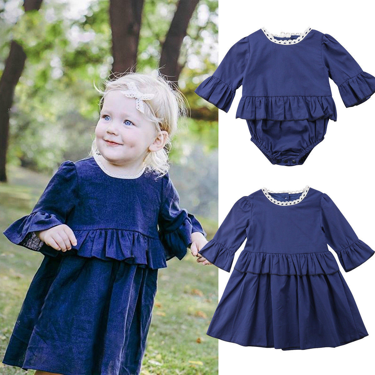 Dress Matching Big Sister Romper New And Summer Solid Flare-Sleeve Sunsuit Ruffle