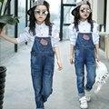 5-13 t Meninas Adolescentes de Jeans Macacão de Bebê Meninas Denim Desgaste Do Outono Com Bolso Macacão Calças Do Bebê das Crianças meninas Macacão Para O Miúdo