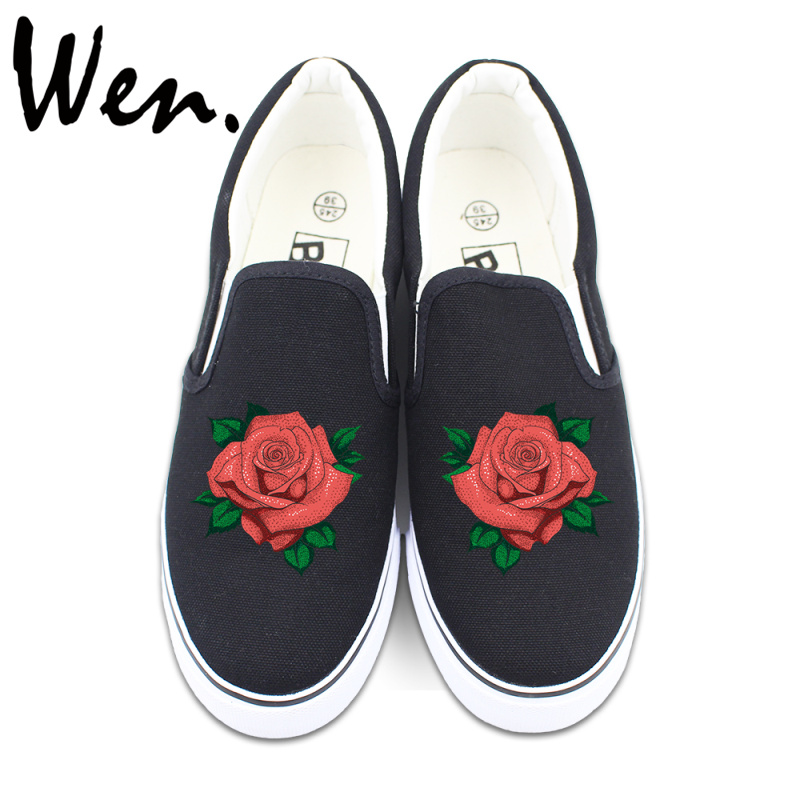 ФОТО Wen Original Floral Shoes Flower Red Rose Slip On Flats Design Man Woman Canvas Sneakers 2 Colors Can Choose