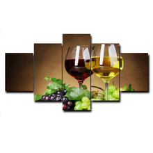 Abstract 5 Panel Super Kitchen Wine Grape Cuadros Posters Creative Wall Art Canvas Oil Painting Prints Home Living Room No Frame
