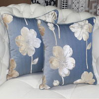 European Floral Cushion Cover Blue Red Sofa Seat Cushion Covers Decorative Home Pillow Cover Simple Printed