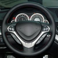 leather hand Top Leather Steering Wheel Hand-stitch on Wrap Cover For Honda Accord Spirior (1)