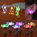 Bluelans Unisex Bling LED Ear Studs Flower Earrings for Dance Christmas Halloween Party