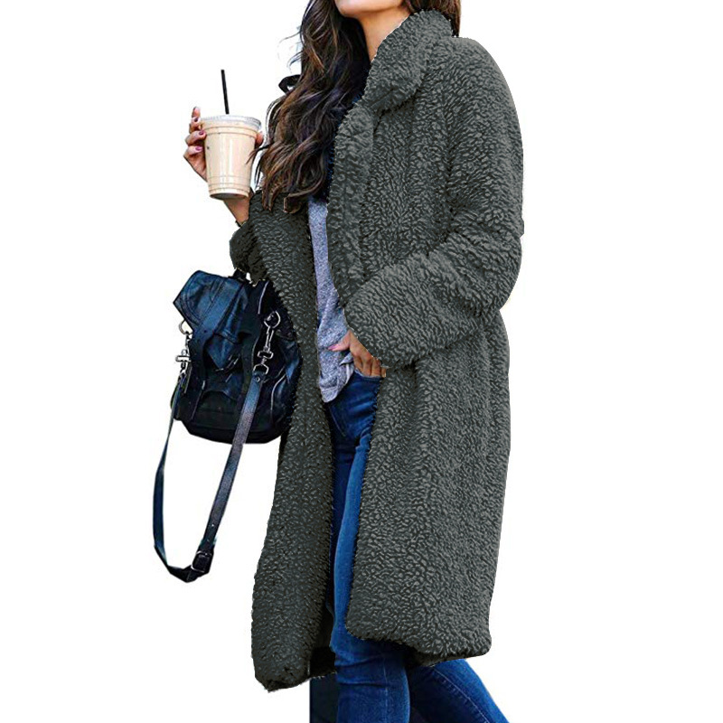 Long Coats Fleece Jackets Winter Warm Teddy Coat Cardigan Office Lady Sexy Women Wool Blends Full Tops Overcoats Plus Size 8