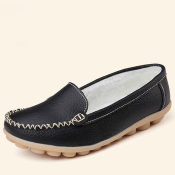 Genuine Leather Sneakers Casual Women Loafers Slip On Flats Low Heel Moccasins 2
