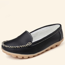 Hosteven Women Shoes Genuine Leather Sneakers Casual Women Loafers Slip On Woman Flats Shoe Low Heel Moccasins Footwear