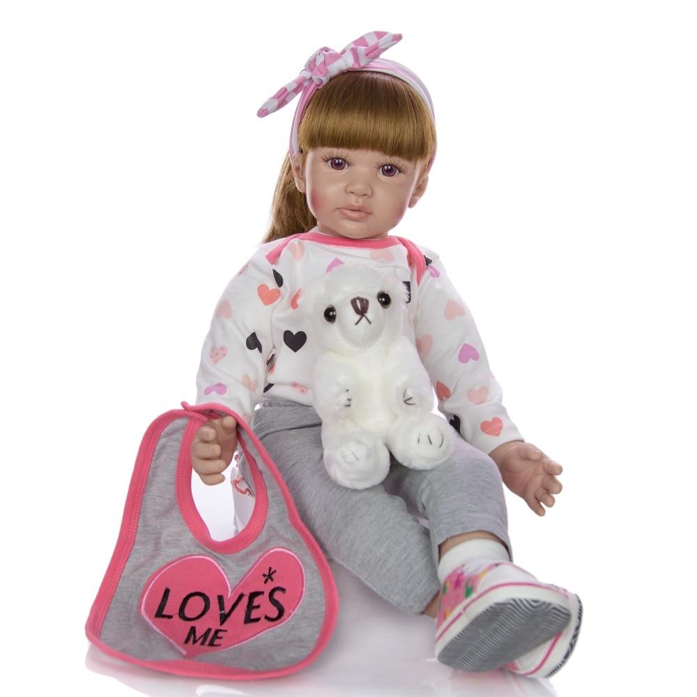 Bebe fille silicone reborn poupées mains tenant peluche ours poupée réel vivant bébé poupée reborn jouets boneca realista poupée cadeau 23 pouces