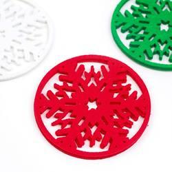 10 шт. красный Рождественский Снежинка Подставки нетканый коврик изоляционный коврик Веселые рождественские украшения чашка коврик для