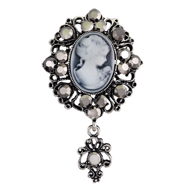 Water Drop Vintage Gothic Style Head Statue Cameo Brooch SImulated-Pearl Rhinestone Enamel Brooch for Women Brooches Pin Jewelry