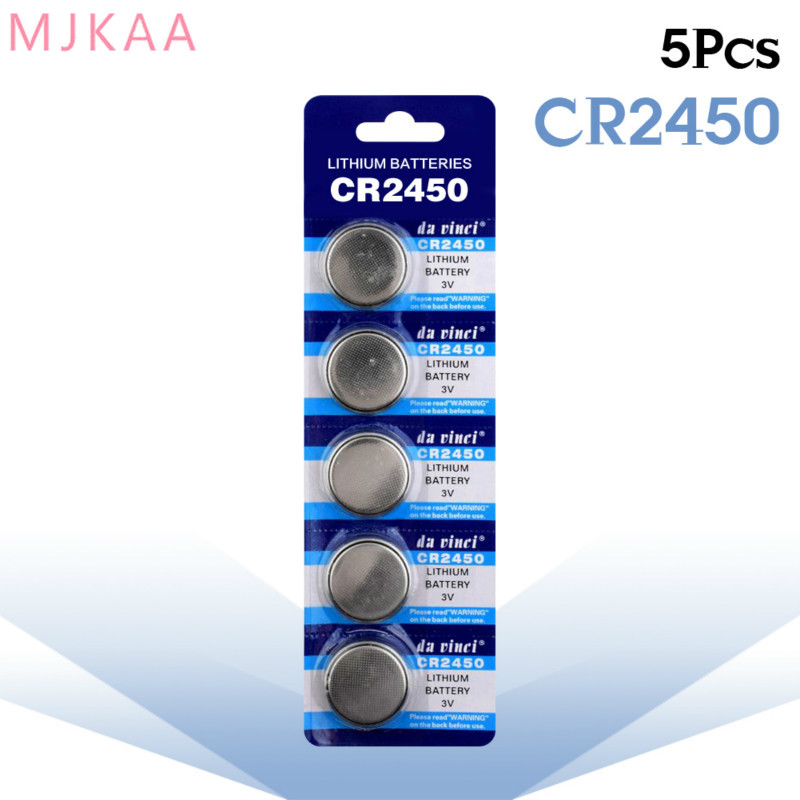 5pcs/pack CR2450 Button Batteries for Watch Electronic Toy Remote KCR2450 5029LC LM2450 Cell Coin Lithium Battery <font><b>3V</b></font> <font><b>CR</b></font> <font><b>2450</b></font> image