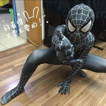 New 2017 Đen Spider-Man Trẻ Em Người Lớn Superhero Lycra Spiderman Anh Hùng Zentai Halloween Costume Với Mask