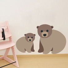 Cute Brown Bears Wall Sticker Funny Baby Mom Cartoon Animals Decals For Kids Room Nursery Wall Decal House Mural DIY Home D