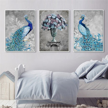 Minimalist Canvas Painting Abstract Blue Peacock Flowers Vase Pictures Prints Wall Art Nordic Poster For Living Room Home Decor(China)