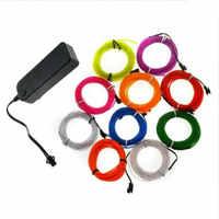 5 M 10 colores 3 V Flexible neón EL cable luz baile fiesta Decoración Luz