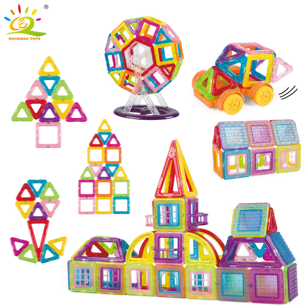 128pcs Ferris wheel Magnetic Building Blocks Set Educational Construction Toys for children DIY 3D Plastic Magnetic Tiles Bricks