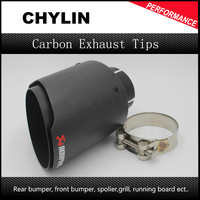 1 Piece Inlet 63mm Outlet 101mm Akrapovic Carbon Fiber Exhaust Tips Muffler Black Stainless Steel Car