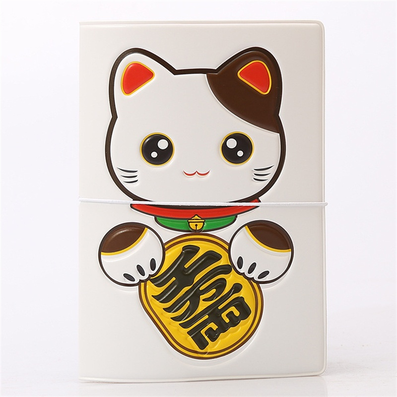 White Fortune Cat Passport Holder ID Card Holder 3D Design PVC ...