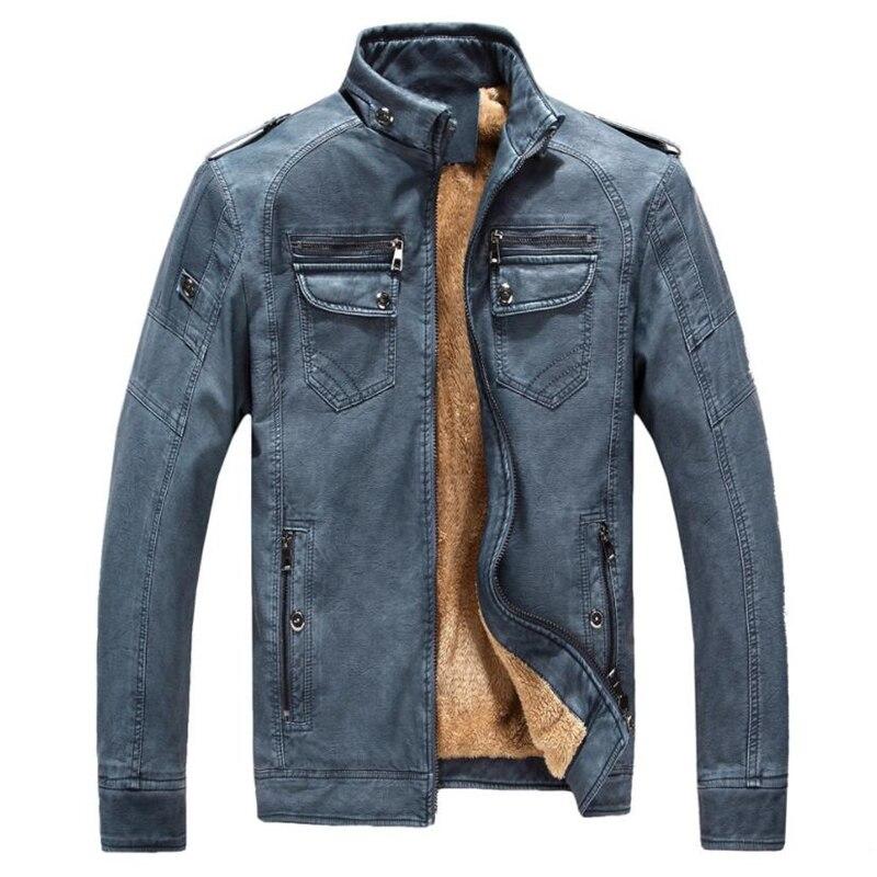 2018 Mens Winter Leather Jacket Bomber Motorcycle Business Casual Faux Fur Fleece Coats Faux Leather Jacket Men Jaqueta De Couro