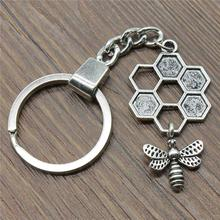 46x25mm Honey Bee Keychain Men Jewelry New Vintage Keychain Party Gift Dropshipping Jewellery