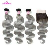 Ali Coco бразильские пучки волнистых волос с закрытием 1B/серые волосы remy 3 пучка с закрытием человеческие пучки волос