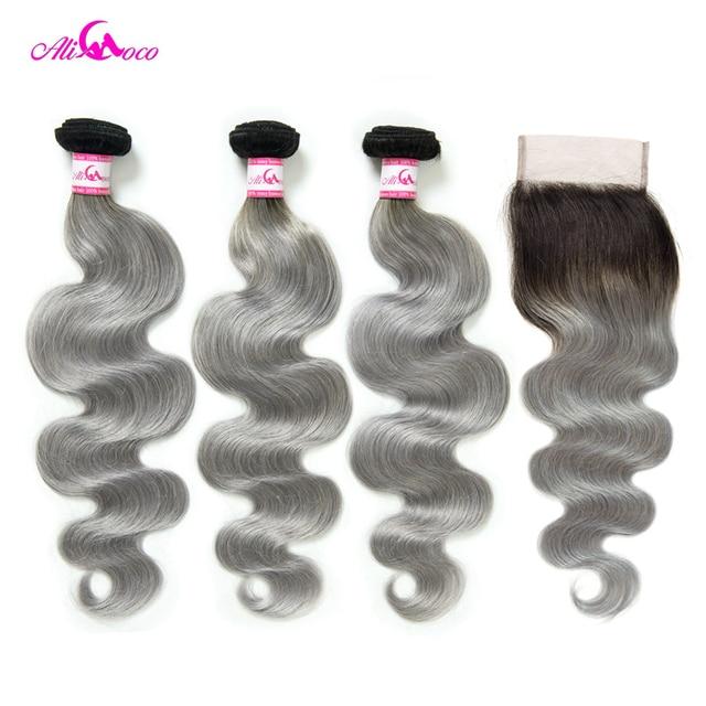 Paquetes de onda del cuerpo brasileño de Ali Coco con cierre 1B/pelo Remy gris 3 paquetes con cierre tejido de cabello humano paquetes