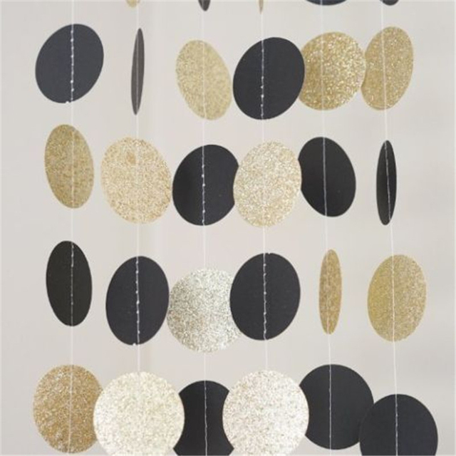 33c2ccb3b64 10FT Party Home Decor New Banner black White and Gold Glitter Circle Polka Dots  Paper Garland Banner