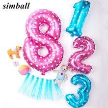 1Pc 40inch 핑크 블루 번호 풍선 큰 자리 알루미늄 호 일 헬륨 풍선 생일 웨딩 파티 장식 풍선 공기 Baloes