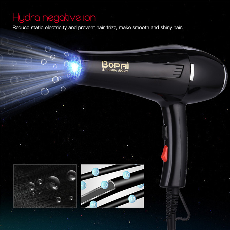 5000W Large Power Hair Dryer Household Negative Ionic Hair Blow Dryer Hot Cold Wind Adjustment Hairdryer Salon Styling Tool S42 5000w hair dryer blue light anion fast styling blow dryer cold shot ion hairdryer for hairdresser salon