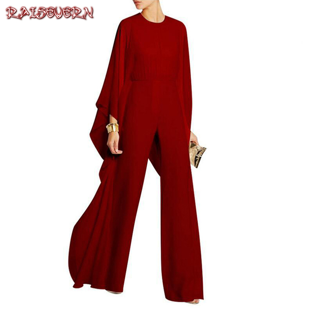 28ae66928105 RAISEVERN Women Jumpsuit Long Pants Rompers Long Sleeve 2018 SPring Wide  Leg Pants Jumpsuits Red Sexy Club Party Overalls