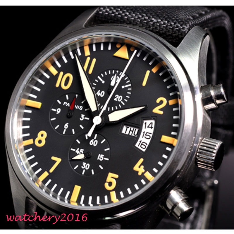 42mm Parnis Black Dial Chronograph Multifunction 2019 Luxury Brand Military Watches Men's In Quartz Movement Mechanical Watches