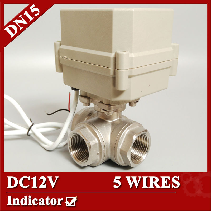 1/2 DC12V electric automatic valve, DN15 5 wires(CR501) Mini electric motor control valve 3way T type/ L type 1 2 dc24vbrass 3 way t port motorized valve electric ball valve 3 wires cr301 dn15 electric valve for solar heating