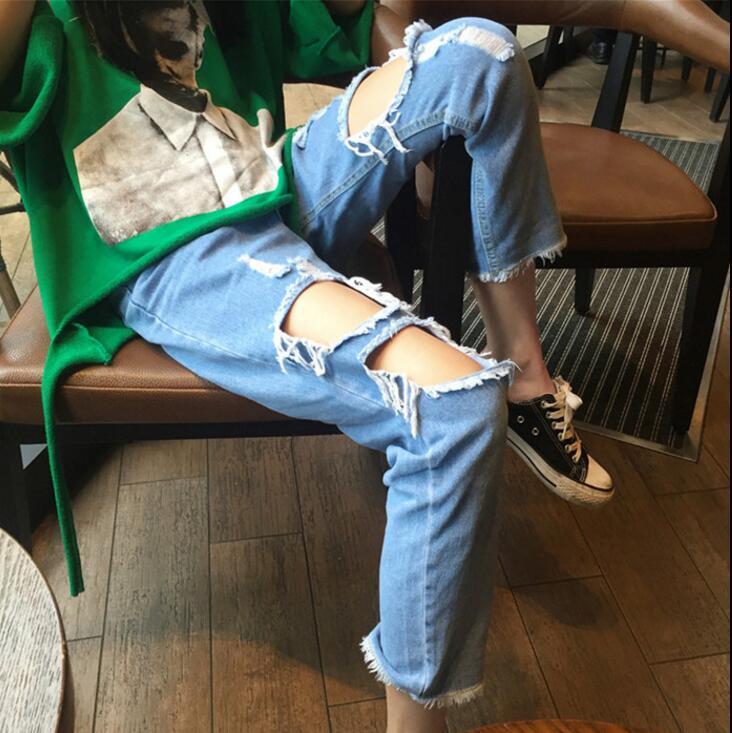017 summer Korea Harajuku big hole jeans nine pants