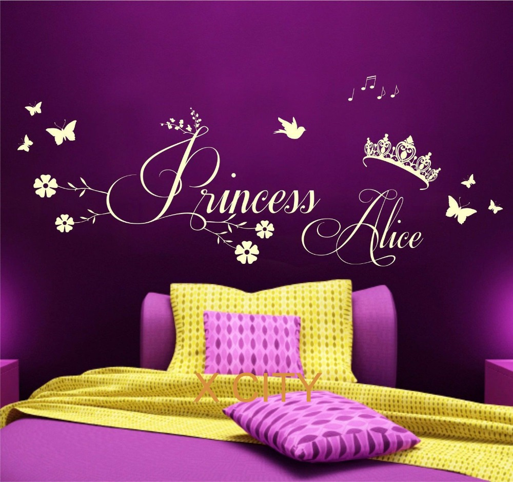 Princess Crown Personalised Name Children Girl Bedroom Wall Art Sticker Removable Vinyl Transfer Decal Home Decoration