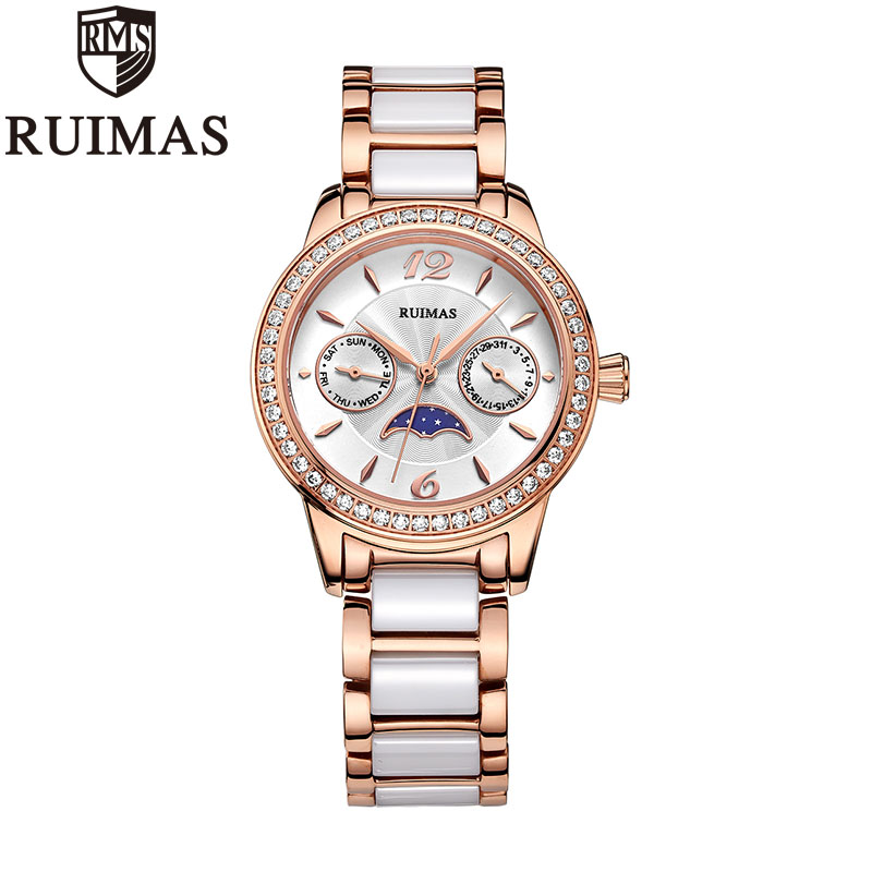 Ruimas 2018 Popular Women Watches Luxury Brand Quartz Watch Ladies Rose Gold Crystal Ceramics Metal Watches For WomenRuimas 2018 Popular Women Watches Luxury Brand Quartz Watch Ladies Rose Gold Crystal Ceramics Metal Watches For Women