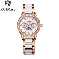 Ruimas 2018 Popular Women Watches Luxury Brand Quartz Watch Ladies Rose Gold Crystal Ceramics Metal Watches For Women
