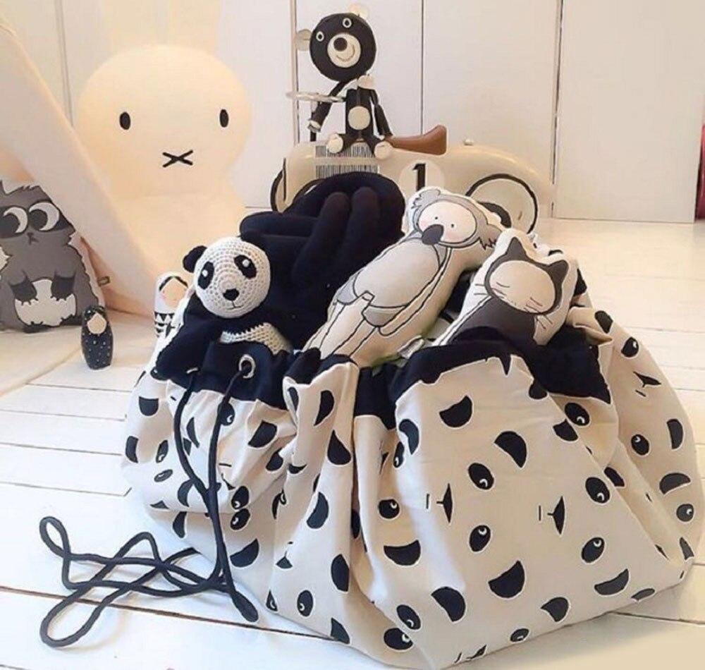 Kids Portable Toy Organizer Storage Bag Drawstring Play Mat For Rug Box S//L