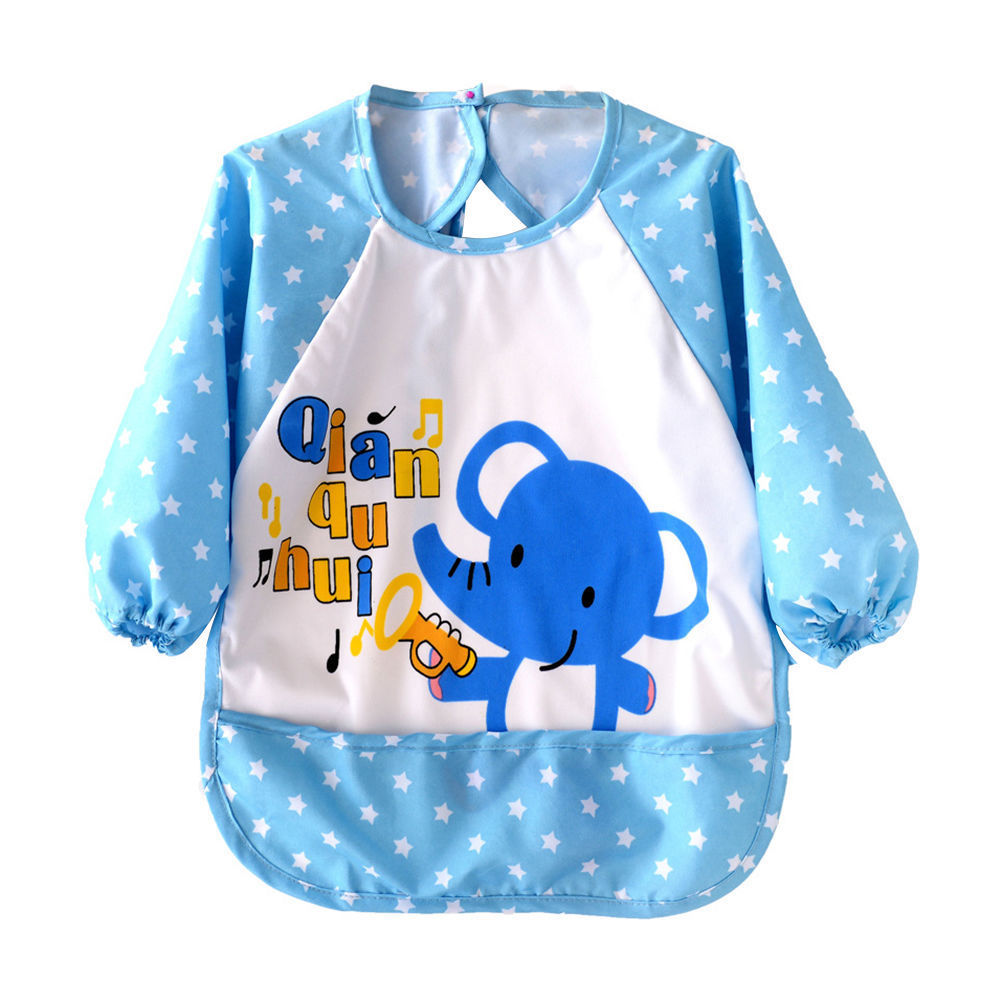 Cute Infant Kid Baby Feeding Burp Apron Long Sleeve Waterproof Smock Toddler Clothes Bibs