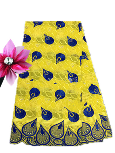 Yellow And Blue swiss lace material African swiss voile lace in switzerland High Quality 100 Cotton