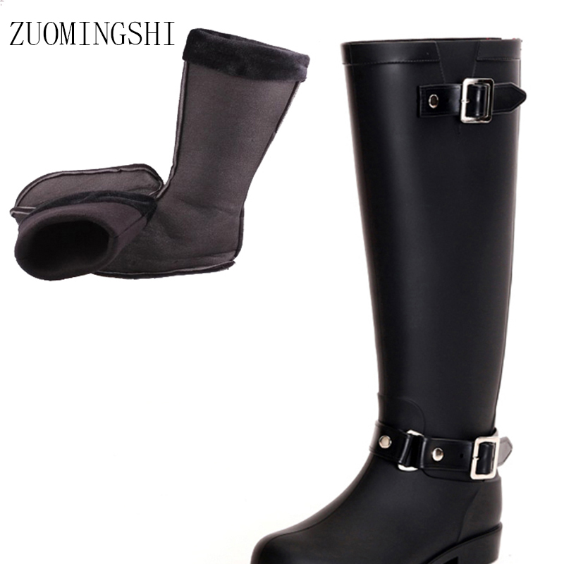 2018 new  black ladies galoshes rubber rain boots women bots Back red Zip zipper bot  with Warm socks  Horse riding Boots