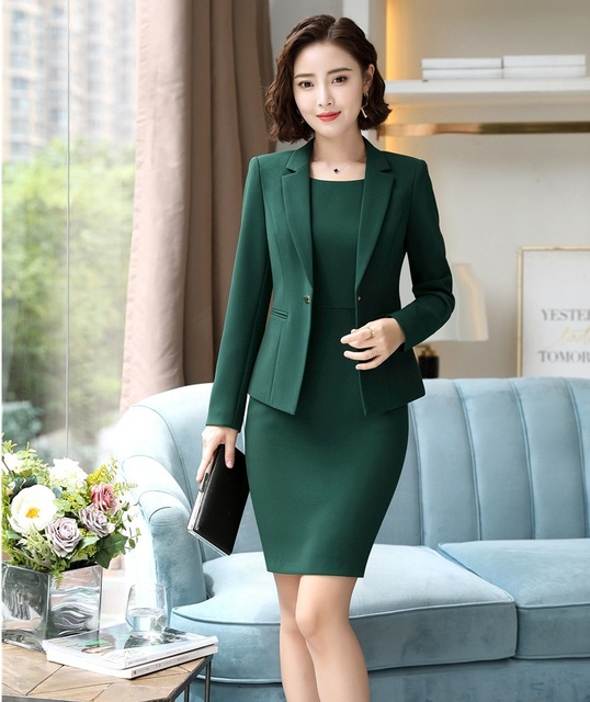 0cf213212021 Fall Autumn Fashion Styles Formal Blazers Suits With Two Piece Jackets And Dress  Ladies Office Work Wear Business Suits OL Sets