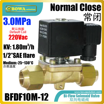 "Bi-flow solenoid valve with 1/2""SAE is mainly for cooling & heating integrated machines, allows refrigerant  flow without limit"