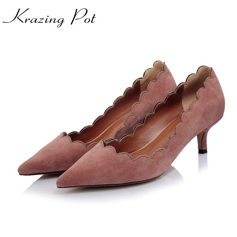 Krazing pot shallow kid suede women brand shoes flowers high heel slip on woman pumps pointed toe stiletto nude summer shoes L98